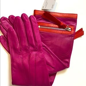 Coach cashmere leather gloves hot pink Sz 6.5